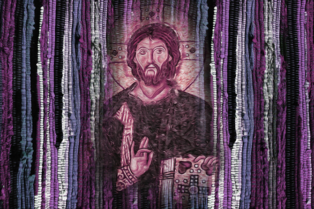 Jesus Christ image on bright vivid colourful fabric texture background - Modren Jesus Christ religion artistic image Foto de archivo
