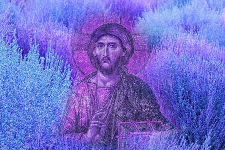 Jesus Christ image on bright vivid colourful natural texture background - Modren Jesus Christ religion artistic image