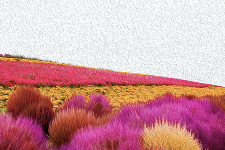 illustration graphic art red, pink and yellow Flowers field background - Graphic art wallpaper background concept Banque d'images - 122591636