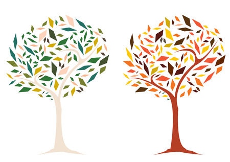 Diversity multi-color tree trapezoid shape leaves illustration graphic vector with hot and cold tone colours represent Spring and Autumn season - easy manipulation and custom coloring for design work Illustration