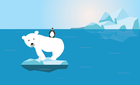 Polar Bear and Penguin with worried face on small melting ice in empty ocean illustration vector graphic - Global warming crisis Climate change problem concept