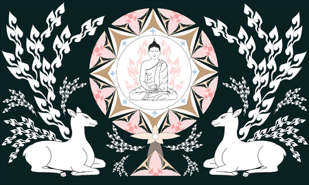 Thai style Illustration vector of Buddha sit in Dharmachakra and deers for Visakha Puja Day or Makha Puja day - Buddhism peaceful Buddha concept