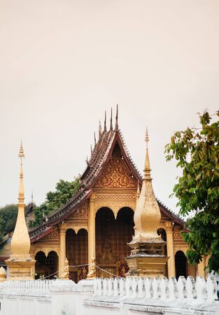 Golden historic Main hall with beautiful facade of Vatsensookharam temple - Luang Prabang, Laos