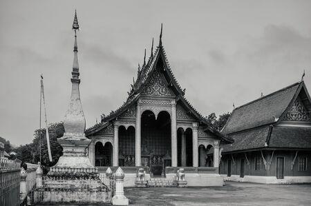 Old Historic Main hall with beautiful facade of Vatsensookharam temple - Luang Prabang, Laos Stock Photo