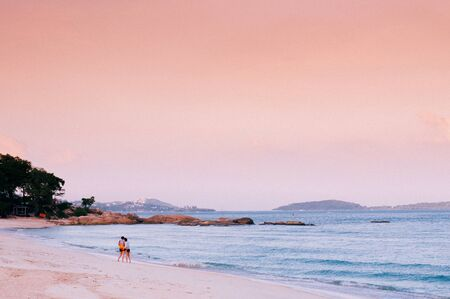 Rock cape summer white sand beach pink tone Sunset or sunrise sky in Samui - Thailand tropical isalnd beautiful nature scenery in evening or morning