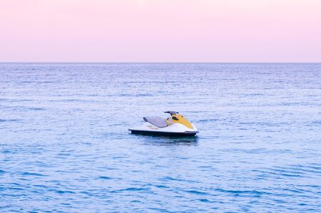 Wide summer tropical seascape pink tone Sunset or sunrise sky in Samui with Jet Ski - Thailand tropical isalnd beautiful nature scenery in evening or morning