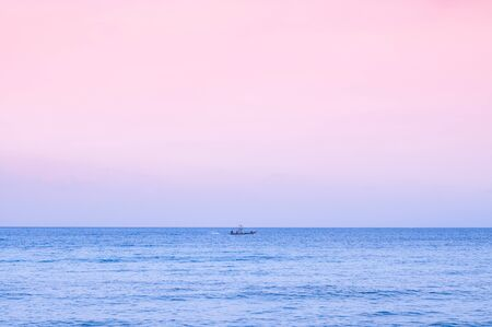 Wide summer tropical seascape pink tone Sunset or sunrise sky in Samui - Thailand tropical isalnd beautiful nature scenery in evening or morning Stock Photo
