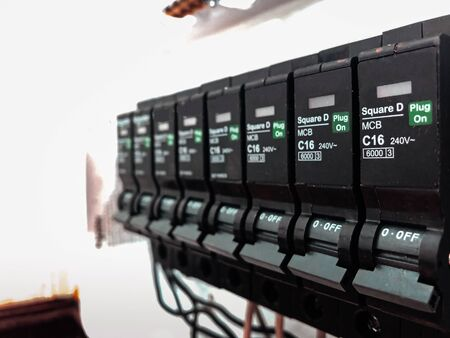 Automatic electricity switch circuit breaker control center box selective focus close up detail shot Stok Fotoğraf