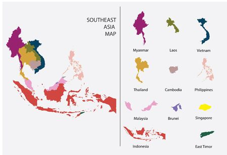 Southeast Asia map graphic vector - Separated isolated country map for design work or info graphic education and geography