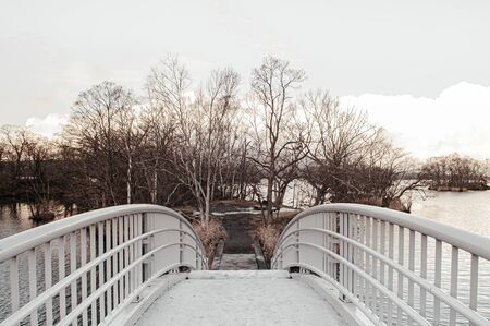 Onuma Koen Quasi -National park nature trail bridge in peaceful cold winter with dried leafless tree. Hakodate, Hokkaido - Japan.
