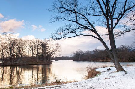 Onuma Koen Quasi -National park lake nature trail in peaceful cold winter with snow. Hakodate, Hokkaido - Japan.