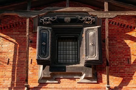 DEC 3, 2018 - Kakunodate, Japan - Kakunodate old Samurai town Kura ancient Edo Japanese storehouse with red brick wall and black window