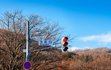 DEC 2, 2018 - Hakodate, JAPAN - Street traffic light at pedestrian crossing on Motomachi road with leafless tree and blue winter sky.