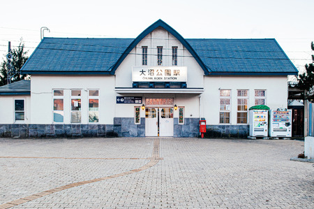DEC 1, 2018 Onuma Koen, Hakodate, JAPAN - Onuma Koen station, vintage architecture train station in cold winter evening. Transit point for Onuma Quasi -National park.
