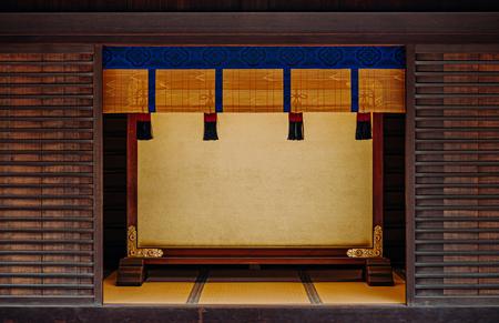 DEC 5, 2018 Tokyo, Japan - Meiji Jingu Shrine Shukueisha building with golden wood panel and old wood wall with Tatami floor - Most important shrine of Japan capital city.