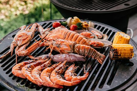 Lobster, rock lobster and mix seafood barbecue cokking on grill - seafood dinner party concept Reklamní fotografie