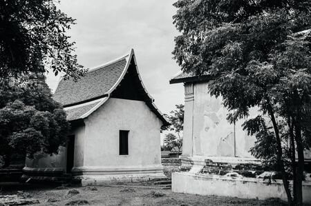 Ayutthaya ancient Buddhist chapels among big trees in Wat Putthaisawan historic Temple - Thailand. Black and white image