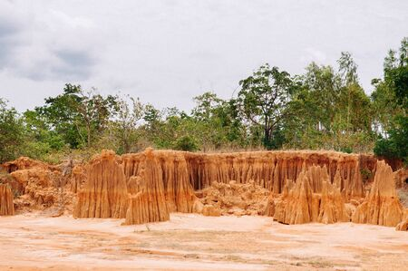 Canyon cliff and desert land of Soil retrogression and degradation at Lalu in Sakaeo, Thailand