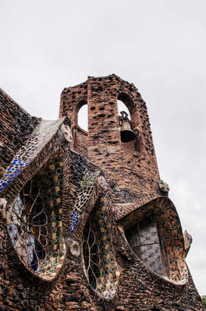Bell tower of Church of Colonia Guell or Gaudi Crypt in La Colonia Guell near Gaudi Crypt.