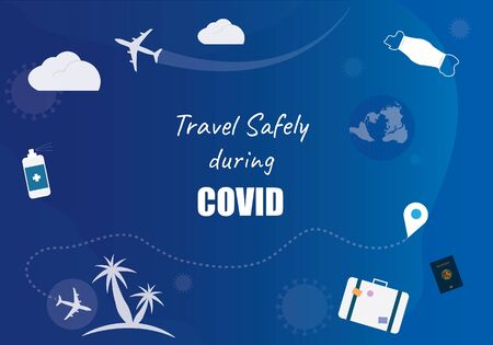 Travel safely during COVID background vector graphic illustration. Web banner graphic element for disinfectant travelling concept 向量圖像