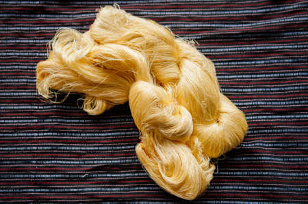 Details of natural shining yellow silk thread traditional sericulture of Thai silk making in Countryside