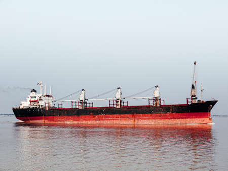 Container Ship, Old freighter ocean ship in import export logistic business and international transportation Zdjęcie Seryjne