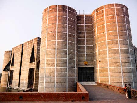 FEB 13,2012 Dhaka, Bangladesh - Grand building of Bangladesh National Parliament or Jatiya Sangsad Bhaban, located at Sher-e-Bangla Nagar. Design by architect Louis Kahn Publikacyjne
