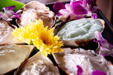 Thai oriental nutural spa ingredients scrub and cream mask made from local Asian herbs