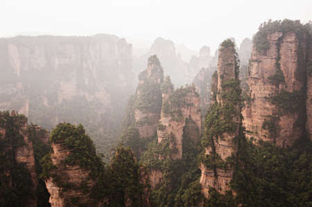 Exotic rock cliff and floating forest of Zhangjiajie mountain at Wulingyuan Scenic Area in Hunan - China