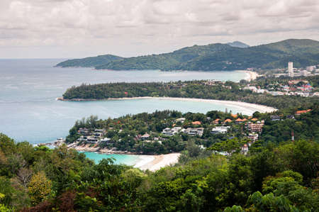 Wild phuket seashore landscape Kata Noi - Kata beach and bays from Karon view point during monsoon season. Thailand 写真素材