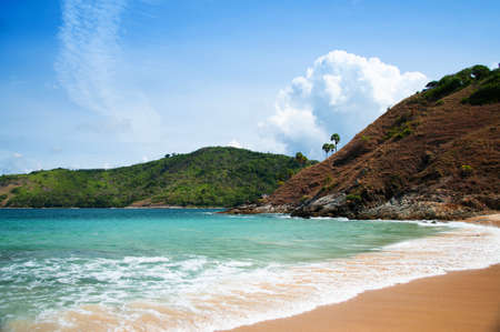 Turquoise blue sea under blue sky with white clouds at Yanui beach in phuket. Thailand