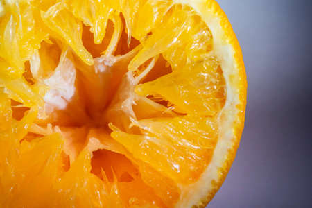 Half cut Mandarin orange pulp after squeezed close up detail isolated on white background 写真素材
