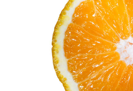 Half cut Mandarin orange beautiful pulp close up detail isolated on white background