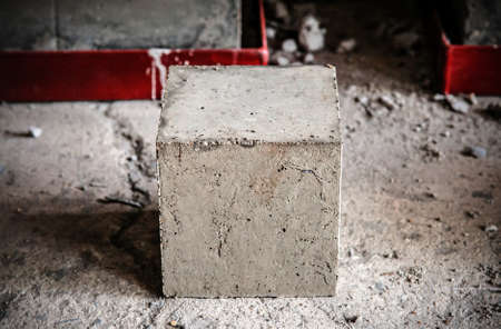 Square concrete block cubes for concrete strength testing process close up detail