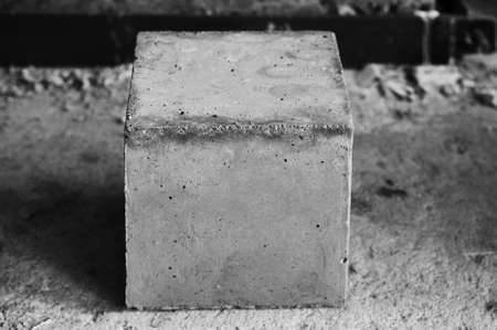 Concrete cube block for concrete strength testing close up details