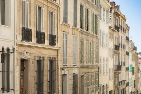 16 Aug 2018. restored building facade , apartment building in Marseille, France