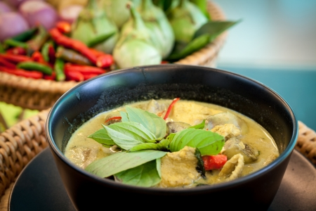 Thailand food Green curry Chicken Intense soup photo