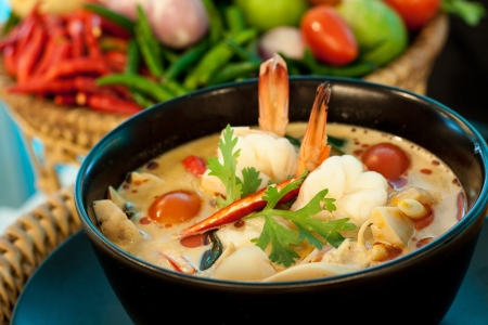 Tom Yum Goong - Thai hot and spicy soup with shrimp - Thai Cuisine Stock Photo - 20306411