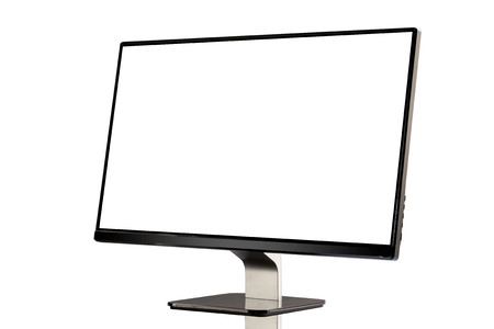 Computer display with blank white screen