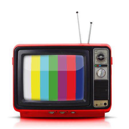 Vintage vieux téléviseur de style isolé sur fond blanc.