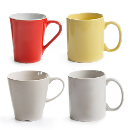 set of different mugs isolated on a white background photo