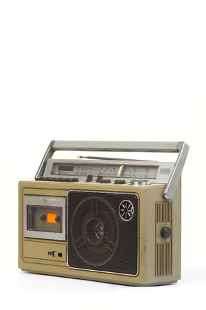 stereo cut: retro ghetto blaster isolated on white background.