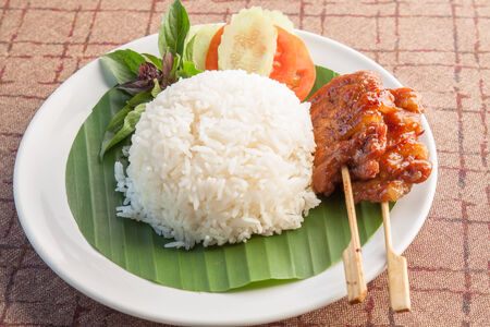 Thailand food rice with Grilled Pork photo