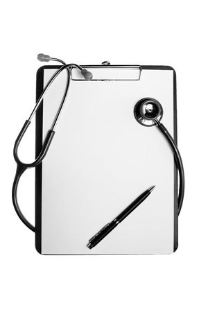 clipboard with stethoscope and syringe on wooden background photo