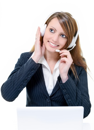 Portrait of happy smiling attractive woman with headphone isolated Stock Photo - 17643364