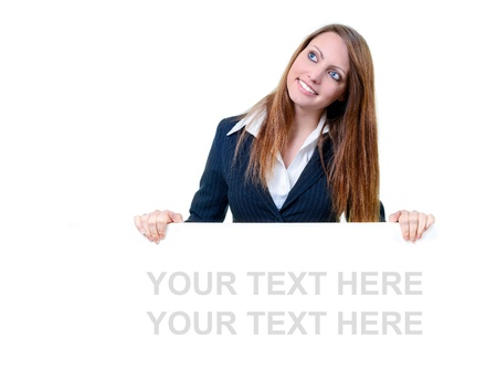 Young businesswoman holding blank message board Stock Photo - 17643314