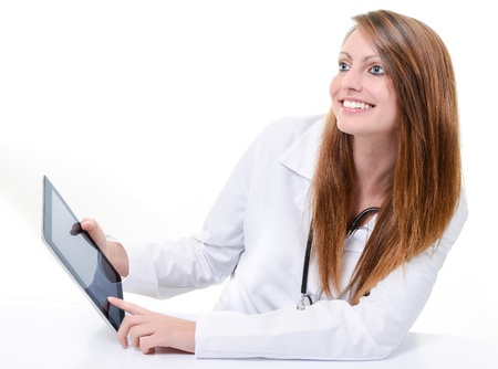 Pretty female student doctor working with an digital tablet Stock Photo - 17795005
