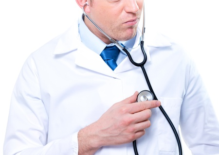 Close-up male medical doctor listening with a stethoscope Stock Photo - 17795011
