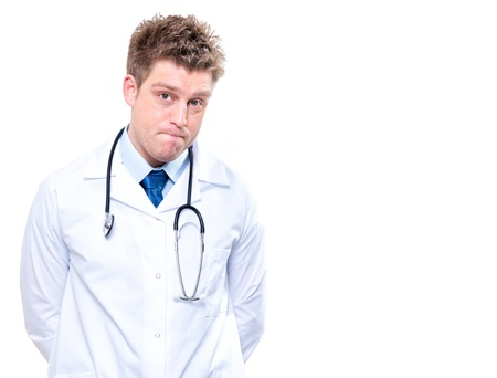 Expressive handsome doctor with stethoscope  Isolated