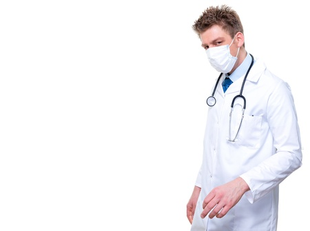 Male nurse or doctor wearing surgical mask Stock Photo - 17795014